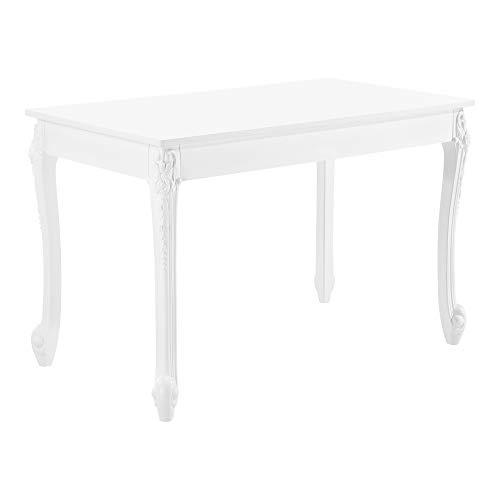 [en.casa] Esstisch für 4 Personen Küchentisch im Landhausstil Weiß Esszimmertisch Tisch Esszimmer MDF 76x116x66cm
