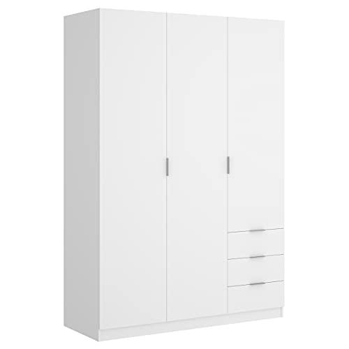 Armario de Tres Puertas batientes y Tres cajones Essen 184x121x52 cm (Blanco)