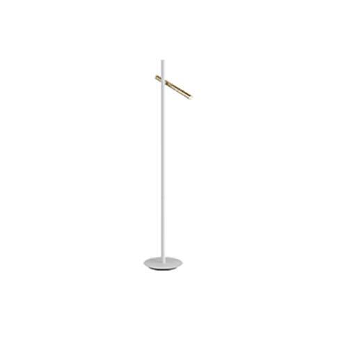 Lámpara SCHULLER VARAS de pie de 2 luces LED. Realizada en metal acabado oro brillo y blanco mate. Difusor acrílico opal.10W LED, 900 lm, 3.000 K