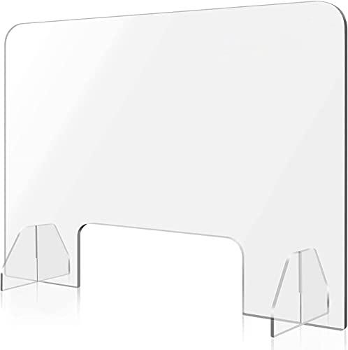 90 cm x 60 cm bureau scheidingswand met doorgeefopening beschermwand transparant acryl opzetstuk tafelopzetstuk voor bescherming tegen speeksel, hoestbescherming, werkplaats in nagelstudio, kantoor, school, keuken, 5 mm dik