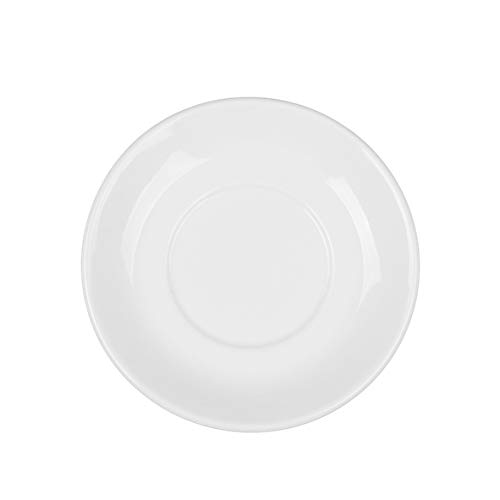 Holst Porzellan UTA 138 Untertasse 14 cm flache Form, Spiegel 6,5 cm, weiß, 14 x 14 x 2 cm, 6 Einheiten