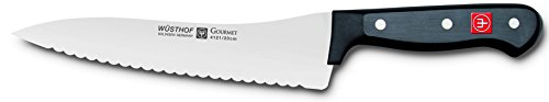 "WÜSTHOF Gourmet 8 Inch Offset Deli Knife | German Made Scalloped Edge 8"" Deli Knife