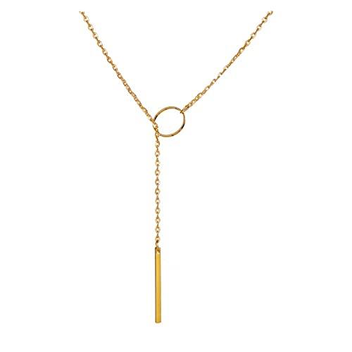 SFQRYP Collar de Cadenas de círculo de Metal para Mujeres 2021 Accesorios de Moda Sencillo Acero Inoxidable Joyería Charm Choker al por Mayor (Length : 55cm, Metal Color : Gold Color)