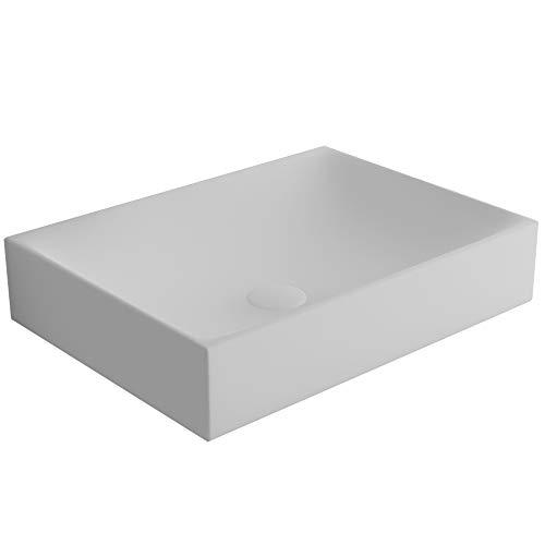 bad1a Alpenberger Aufsatzwaschbecken 50 x 38 cm aus Keramik | Zeitloses Design Waschbecken | Geeignet als Aufsetzwaschbecken verwendbar | Eckiges Ausgussbecken | Leichte Montage & Genormte Anschlüsse
