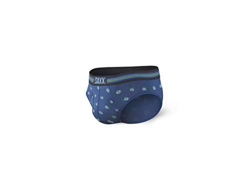 Saxx Underwear Men's Briefs – Ultra Men's Underwear – Briefs for Men with Built-in Ballpark Pouch Support,Blue Earth Day Globe,X-Large