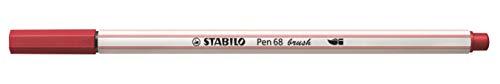 Caneta Stabilo Pen 68 Brush, Vermelho Escuro, Caixa com 10 unidades
