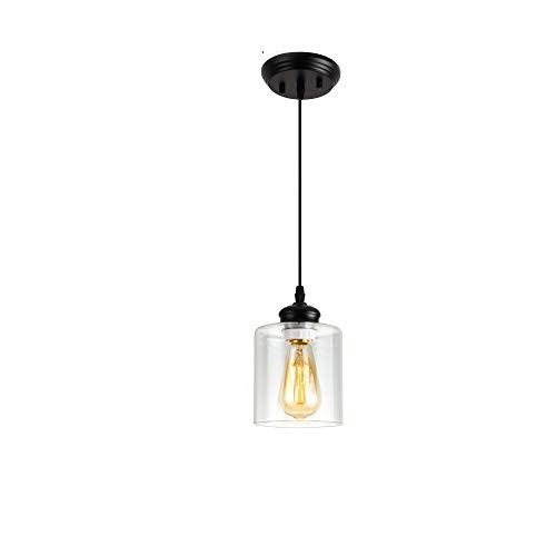 Black Industrial Mini Pendant Light,Farmhouse Vintage Hanging Light Fixture with Clear Glass Lamp for Kistchen Island Dining Room (1 Lights)