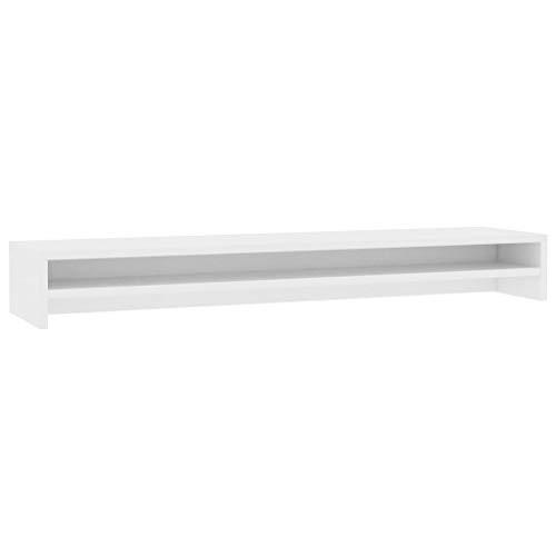 vidaXL Monitorständer Schreibtischaufsatz Monitorerhöhung Bildschirm PC Regal Aufsatz Bildschirmerhöhung Weiß 100x24x13cm Spanplatte