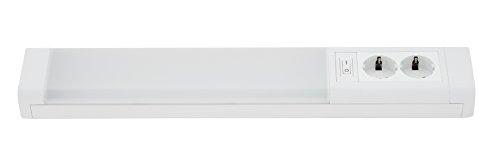Telefunken 200706TF, LED Unterbauleuchte | inkl. zwei Steckdosen mit Direktanschluss | inkl. Schalter | Unterbaulampe 10W, 850 Lumen | Lichtfarbe LED Leiste: neutralweiß | Länge: 50.1 cm | Farbe: weiß