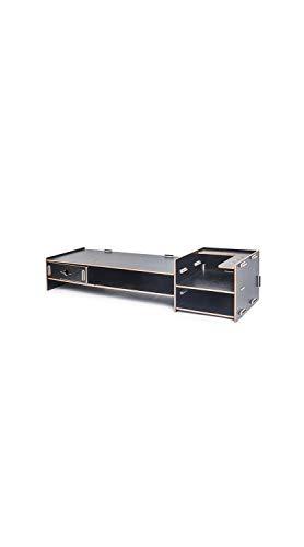 TYZP 2-TIier Monitor Riser Estante Madera Oficina Escritorio Escritorio Pantalla LCD Base Soporte Teclado Acabado Gabinete Negro