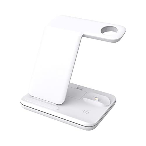WERYU Cargador Inalámbrico Ajustable, Estación De Carga Inalámbrica 3 En 1, Compatible con AirPods Pro 2 1, Cargador Rápido Qi De 15 W Compatible con iPhone 12 11 Pro MAX XR XS MAX X 8 Plus