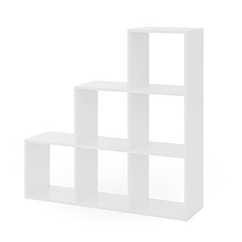 Vicco Treppenregal 6 Fächer Raumteiler Stufenregal Bücherregal Raumtrenner Aktenregal Standregal