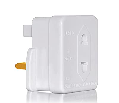 UK 2 Pin To 3 Pin 1A Fuse Adaptor Plug For Shaver / Toothbrush