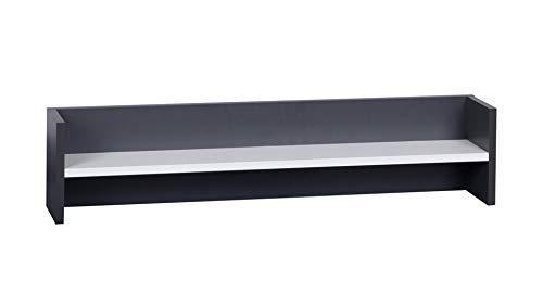 DOMTECH Wandplank, 90 cm, antraciet/grafiet wit, wandrek, CD DVD rek, zwevende rek, boekenrek, reksysteem, hangkast, hangkast, hangkast, woonwand, zwevende planken