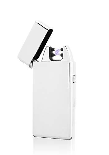 TESLA Lighter TESLA Lighter T05 Lichtbogen Feuerzeug, Plasma Single-Arc, elektronisch wiederaufladbar, aufladbar mit Strom per USB, ohne Gas und Benzin, mit Ladekabel, in edler Geschenkverpackung Silber Silber
