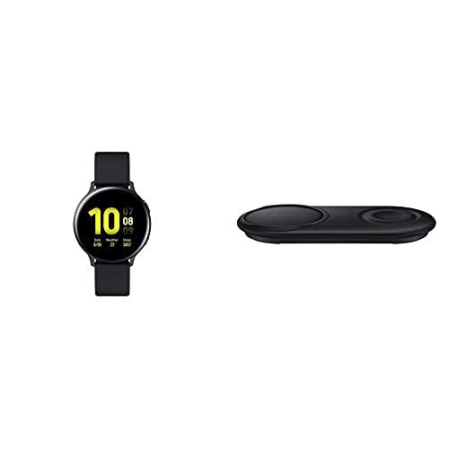 Samsung Galaxy Watch Active2, Fitnesstracker aus Aluminium, großes Display, ausdauernder Akku, wassergeschützt, 44 mm, Bluetooth, Schwarz & Mobile Accessories Wireless Charger Duo Pad, Schwarz