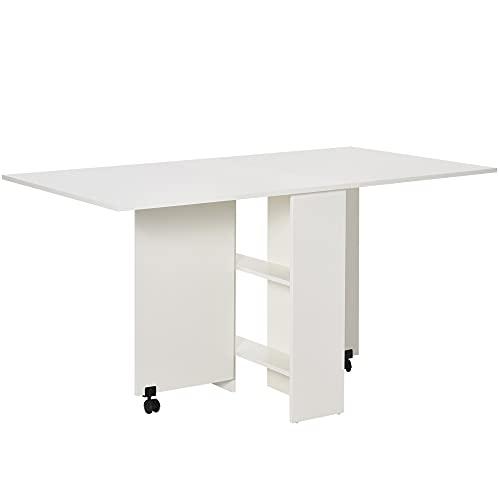 HOMCOM Esstisch Klapptisch Schreibtisch Beistelltisch Tisch Ablagefläche Holz Weiß 80 x 140 x 74...