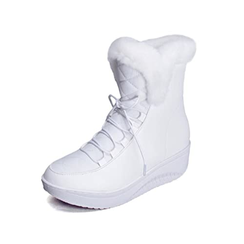 Women Winter Warm Round Toe Snow Boots Fur Lined Cold Weather Outdoor Platform Wedge Lace Up Booties