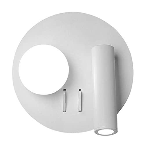 Lámpara de pared LED, luz de pared LED Ajustable 6W Nordic Lectura de la cama Sconce Spotlight con interruptor 15x15x9cm