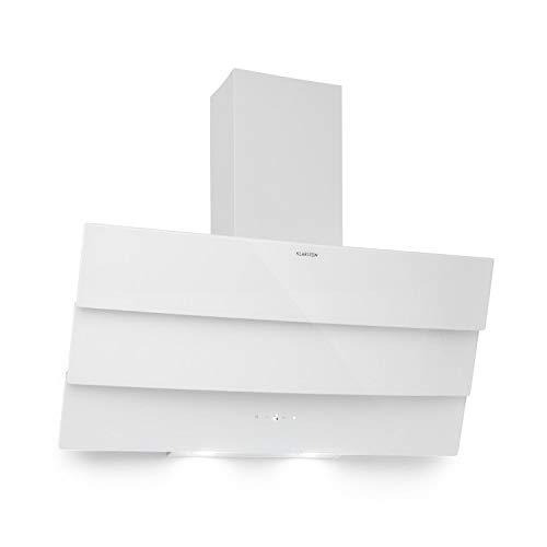 Klarstein Antonia - Dunstabzugshaube, Kopffreihaube, 350 m³/h, EEK B, Abluft oder Umluft, Touch-Bedienfeld, LED-Display, 2 zuschaltbare LEDs, 3-teilige Glasfront, Wandhaube, 90 cm, weiß