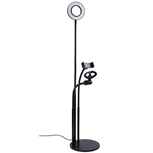 Soporte Movil TeléFono Transmisión en Vivo de luz de Relleno Aplicable a Todos los teléfonos móviles MV Grabar Videos Cortos,Black