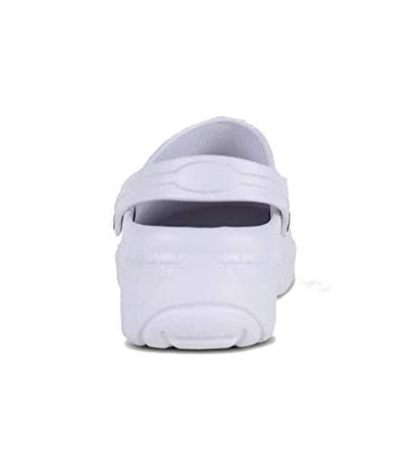 Work Team Zueco EVA Unisex. Ultraligero, ergonómico. Anatómico, con Cámara ortopédica, Suave para los pies. Hombre Blanco 38/39