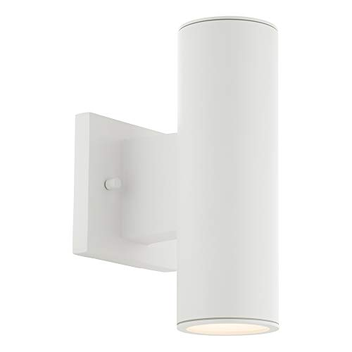 Matte Black Finish Embark 1-Light Outdoor Wall Sconce Fusion Cylinder with Flat Rim Artisan Glass Shade in Opal