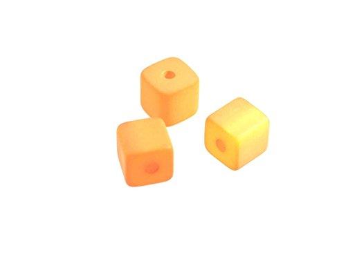 Creative-Beads Polaris-kralen, mat, dobbelsteen, 8 x 8 mm, 8 stuks, modieuze kubus kettingen zelf maken 89 cognac