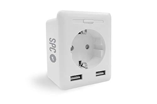 SPC Clever Plug USB - Enchufe Inteligente Wi-Fi con 2 USB, Control Desde móvil o Tablet Mediante App SPC IoT, Control de Consumo, programación horaria, Amazon Alexa, Google Home, Blanco