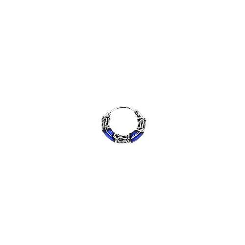 NKlaus PAAR 925 STERLING SILBER Keltische Bali Creolen s blue 12mm 7102