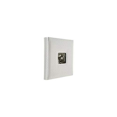 Adorama Proof Album Series, Holds 200 5x7' Photos, With a 4x6' Window Opening, Color: White Diamond Pattern Cover with White Pages.
