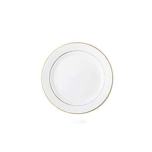 Lazxcnvb Juego de platos de porcelana, ideal para principal, ensalada, sándwiches y carne, fácil de limpiar, color: blanco, tamaño: 25 cm