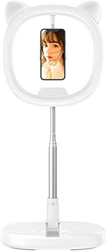 Flashes Macro y Anulares Soporte de teléfono móvil de escritorio Soporte de rotación portátil Selfie Anillo Luz de transmisión en vivo Shootaje Video YouTube Base redonda Smartphone 3 Modos de luz Tap