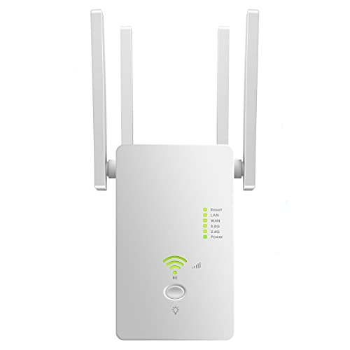 WLAN Repeater 1200 Mbit/s WLAN Amplifier 2.4 GHz and 5 GHz Dual Band 4 in 1 Mode 4 Antennen 2 Ethernet Ports Einfache Einrichtung