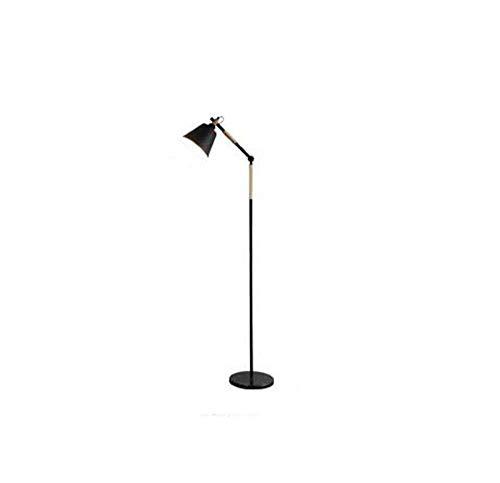 ZUQIEE Lámparas de pie Lámpara de pie, Creativas América Retro de Madera del Hierro labrado de pie luminarias for Sala de Estar Dormitorio de Noche Estudio (Color : Black)