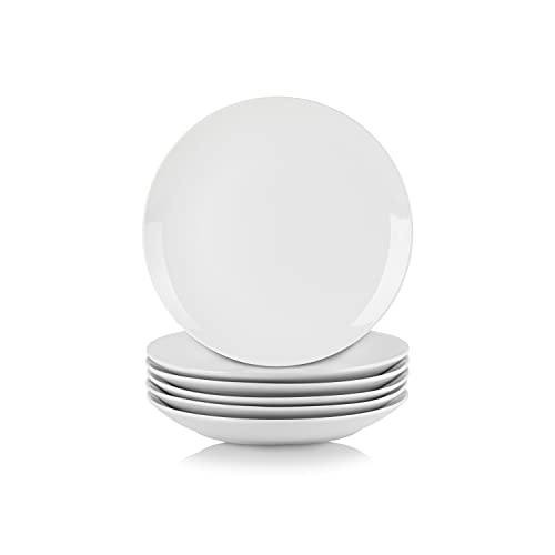 10 Strawberry Street Simply White 7.5' Coupe Salad Plate, Set of 6