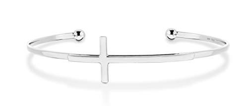 MiaBella 925 Sterling Silver Italian Adjustable Sideways Cross Bracelet for Women 7.25 - 7.5 Inch 18K Gold Plated or Silver Cuff Bangle Bracelet Made in Italy (sterling silver)
