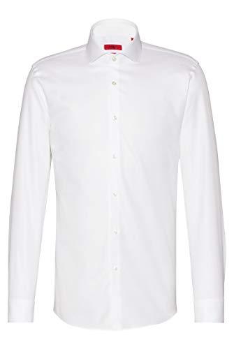 HUGO Herren Kason Slim-Fit Hemd aus Vollzwirn-Baumwolle