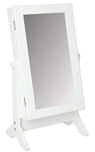 PEGANE Armoire à Bijoux Blanche avec Miroir - Dim :L. 35 x l. 22 x H. 59 cm