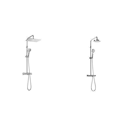 Roca A5A2080C00, Columna de Ducha Termostática, Cromado + A5A9718C00 Columna de ducha termostática, Cromado