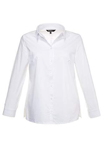 Ulla Popken Damen große Größen bis 60 | Bluse, Langarm Shirt | Hemdkragen, Seitenschlitze & Knopfleiste | Manschetten | weiß 52 714168 20-52