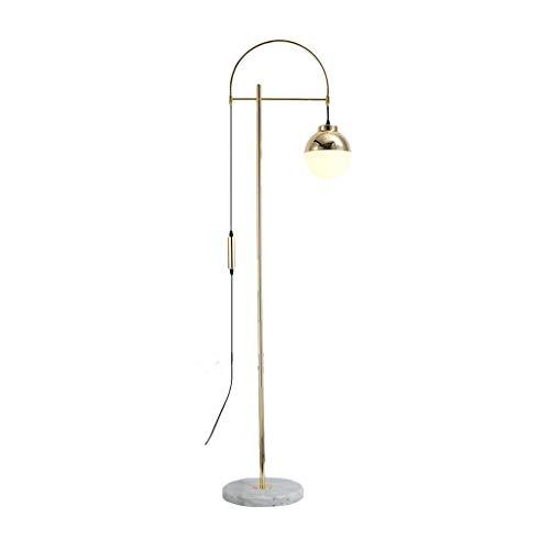 EIU Gouden Vloerlamp Metaal Verstelbare Vloerlamp met Glas Bal Schaduw Led Staande Vloerlamp voor Woonkamer Slaapkamer, 175cm W1/31