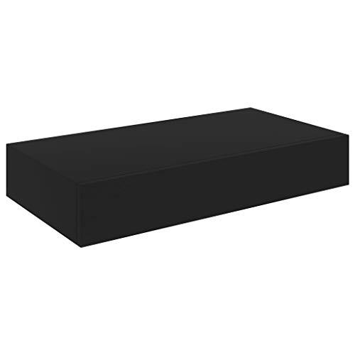Lepeuxi Estante de Pared Flotante con Cajón Negro MDF 48x25x8 cm, Estantería para Pared para tu Salón, Dormitorio, Hogar y Oficina