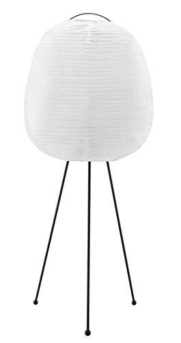 Lámpara de pie con trípode, 1 bombilla E27 máx. 40 W, metal/papel de arroz, color blanco/negro