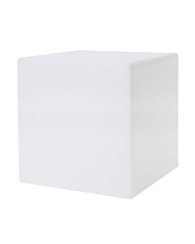 8 seasons design | Würfelleuchte Shining Cube (E27, 33 cm, außen & innen, UV- & wetterbeständig, Beistellwürfel, leuchtender Würfel, Kubusleuchte, Gartenwürfel) weiß