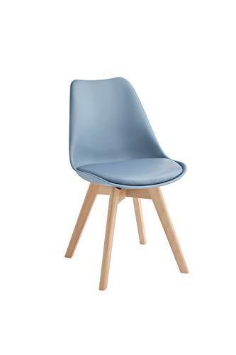 Design Twist Tommy Set di 4 Sedie, Legno, Blu, 52 x 48.5 x 82 cm