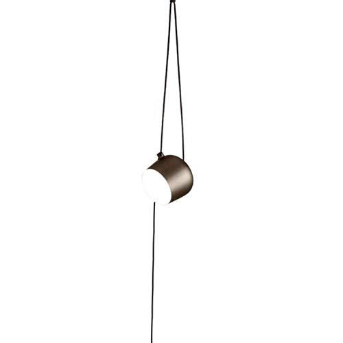 Lámpara de techo suspendida modelo Aim, difusor en policarbonato, reflector de ABS y cuerpo orientable, versión con enchufe, 16W, 24,3 x 24,3 x 21,1 cm, color marrón (referencia: F0092026)