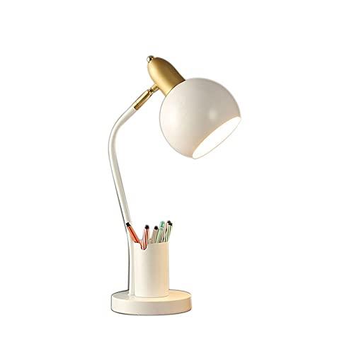 Lámpara de escritorio con soporte de lápiz para dormitorio, lámpara de estudio de metal decorativo con soporte de teléfono de almacenamiento, 360 ° Luz de cama ajustable flexible ( Color : White )
