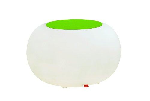 Moree Bubble Table / tabouret lumineux à LED avec coussin en feutre coloré, Ø 68 cm, H 41 cm, surface Ø 40 cm, polyéthylène, blanc satiné, avec ampoule E27 (230 V), LED multicolore, avec télécommande, pour extérieur