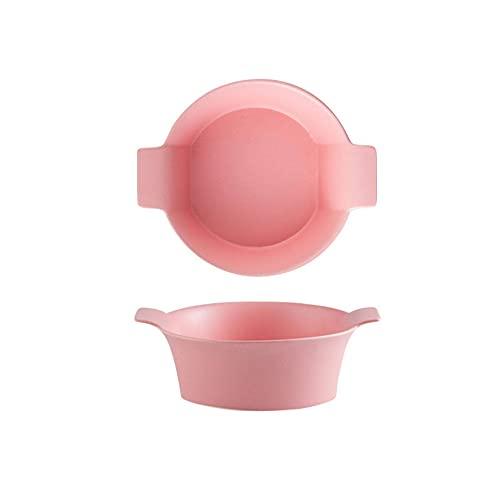 Cerámico Tazón De Sopa Taza De Sopa,Con Asas Dobles Microondas Cuencos De Cerámica,Ensaladera Taza De Desayuno-Rosado-1100 ml